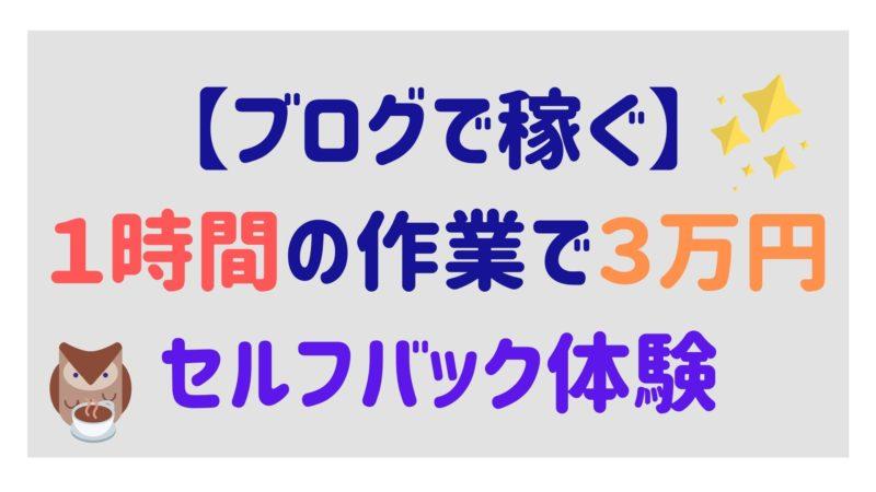 1時間で3万円稼げるセルフバックをやってみた【ブログ運営】
